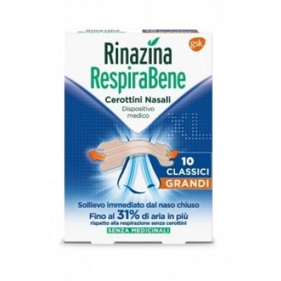 Rinazina Respirabene 10 cerottini nasali grandi