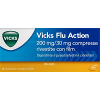 Vicks Flu Action 12 Compresse Rivestite 200 Mg + 30 Mg